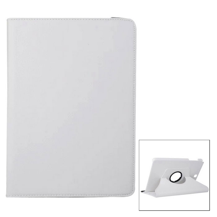 360° Rotary PU Full Body Case w/ Stand for Samsung Galaxy T550 - White