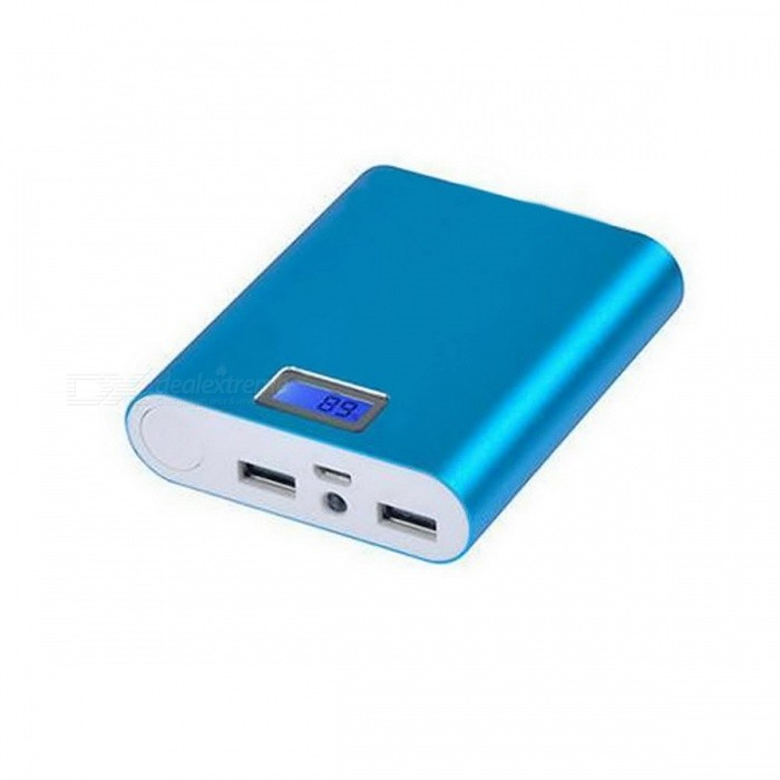 DIY soldeer-Free 4 * 18650 Li-ion batterij Power Bank Case w / LED-Blauw