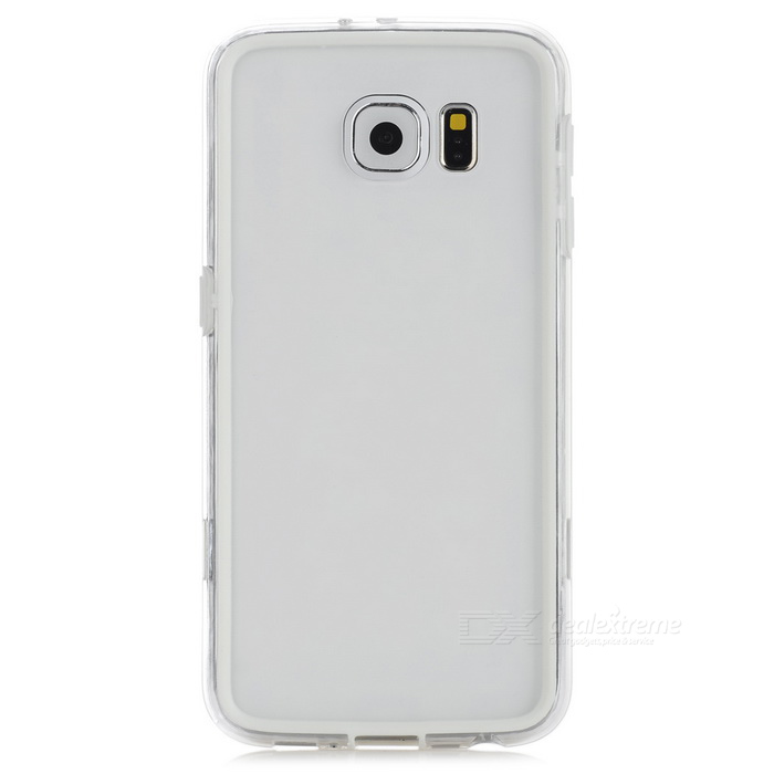 TPU + PC Bumper Frame for Samsung Galaxy S6 - White + Transparent