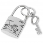 Silver Stainless Steel Lock with Key Pendant