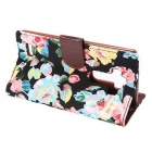 Flower Pattern Case w/ Stand, Card Slot for LG G4 - Black + Multicolor