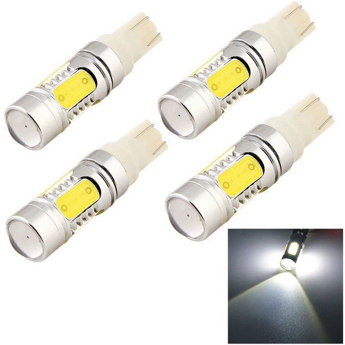 YouOKLight T10 11W Car Clearance Lamp Cold White 1-LED + 4-COB (4PCS)LED Wedge Bulbs<br>Color BINCold WhiteModelYK1457Quantity1 DX.PCM.Model.AttributeModel.UnitMaterialAluminumForm ColorSilverEmitter TypeOthers,1-LED + 4-COBChip BrandOthers,N/AChip Type1-LED + 4-COBTotal Emitters5PowerOthers,11WColor Temperature6500 DX.PCM.Model.AttributeModel.UnitTheoretical Lumens1100 DX.PCM.Model.AttributeModel.UnitActual Lumens900 DX.PCM.Model.AttributeModel.UnitRate Voltage12VWaterproof FunctionNoConnector TypeT10ApplicationClearance lamp,Instrument lamp,Signal light,Indicator lamp,Tail light,Side light,Reading lampPacking List4 x LED car lights<br>