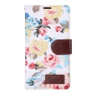 Stylish Flower Pattern Protective PU Case w/ Stand & Card Slot for LG G4 - White + Multicolor
