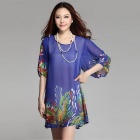 Printing Round-Neck Half-Sleeve Loose-Fitting Chiffon Dress for Women  - Blue (XL)