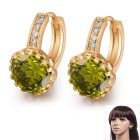 Women's Fine Copper 24K Gold-Plated Round Shaped Ziron Inlaid Shining Earrings - Gold + Green (Pair)