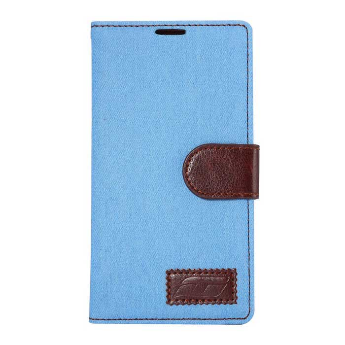 Denim Fabric Style PU Leather Case for LG G4 - Sky Blue + Brown