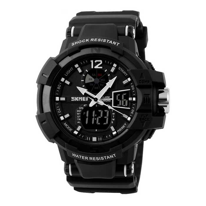 SKMEI Waterproof LED Sports Watch - Black (1*CR2016 / 1*SR626SW)Sport Watches<br>Form ColorBlackQuantity1 DX.PCM.Model.AttributeModel.UnitShade Of ColorBlackCasing MaterialABSWristband MaterialPUSuitable forAdultsGenderMenStyleWrist WatchTypeSports watchesDisplayAnalog + DigitalBacklightGreenMovementDigitalDisplay Format12/24 hour time formatWater ResistantWater Resistant 5 ATM or 50 m. Suitable for swimming, white water rafting, non-snorkeling water related work, and fishing.Dial Diameter4.8 DX.PCM.Model.AttributeModel.UnitDial Thickness1.5 DX.PCM.Model.AttributeModel.UnitWristband Length26 DX.PCM.Model.AttributeModel.UnitBand Width2.2 DX.PCM.Model.AttributeModel.UnitBattery1 x CR2016 / 1 x SR626SW (Built-in)Packing List1 x Watch1 x CR2016 / SR626SW battery (Built-in)1 x Chinese / English user manual<br>