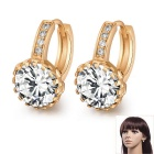 Women's Fine Copper 24K Gold-Plated Round Shaped Ziron Inlaid Shining Earrings - Gold + White (Pair)
