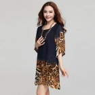 Leopard Round-Neck Loose-Fitting Chiffon Dress - Black + Brown (XL)