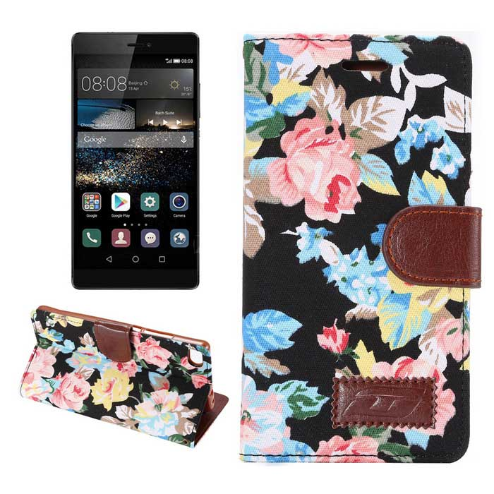 MO.MAT Flowers Pattern Case w/ Stand for Huawei P8 - Black+Multicolor