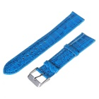 20mm Durable Adjustable Pin Buckle PU Alligator Pattern Watch Band Strap - Blue