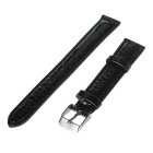 10mm Adjustable Durable PU Watch Band Strap w/ Pin Buckle - Black