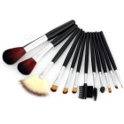 Professional Cosmetic Make-up Brushes w/ Leopard Print Storage Bag Pouch - Black + Brown (12pcs)