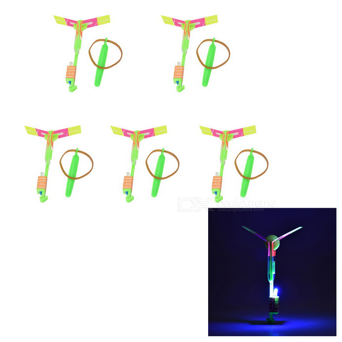 LED Rotation Rubberband Slingshot Helicopter Toy for Kids - Green
