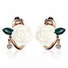 eQute Women's Fashionable Peony Flower Style Alloy + Acrylic Ear Studs Earrings - White (Pair)