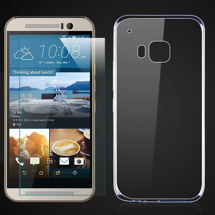 TPU Back Case + Tempered Glass Film for HTC One M9 - Transparent
