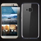Protective TPU Back Case + Tempered Glass Screen Protector for HTC One M9 - Transparent