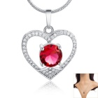 Women's Fashionable Elegant Heart Shape Zircon Inlaid Pendant Necklace - White + Red