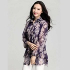 Elegant Printing Loose-Fitting Long-Sleeve Chiffon Blouse for Women - Purple (XL)