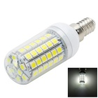 E14 12W LED Corn Bulb Lamp White Light 6000K 1100lm 68-SMD 5050 - White + Yellow (AC 220~240V)