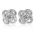 eQute 925 Sterling Silver Simple Yarn Ball White Zircon Inlaid Earrings - Silver (Pair)