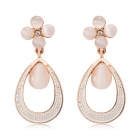 Women's Lovely Sweet Quatrefoil & Dew Design Alloy + Imitation Opal Earrings - Rose Gold (Pair)