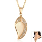 Women's Fashionable Leaf Style Zircon Inlaid Gold Plated Pendant Necklace - Golden