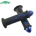 Universal Motorcycle Zinc Alloy Plating Handle Grip Covers - Black + Blue (2 PCS)