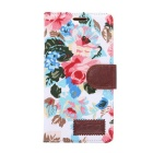 Stylish Flower Pattern Protective PU Case w/ Stand / Card Slot for SONY Xperia Z4 - White