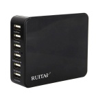 RUITAI US spine 6-Port USB Charger per IPHONE / Android Phone - Nero