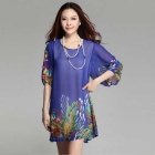 Print Round-Neck Long Sleeve Loose-Fitting Chiffon Dress for Women - Light Blue
