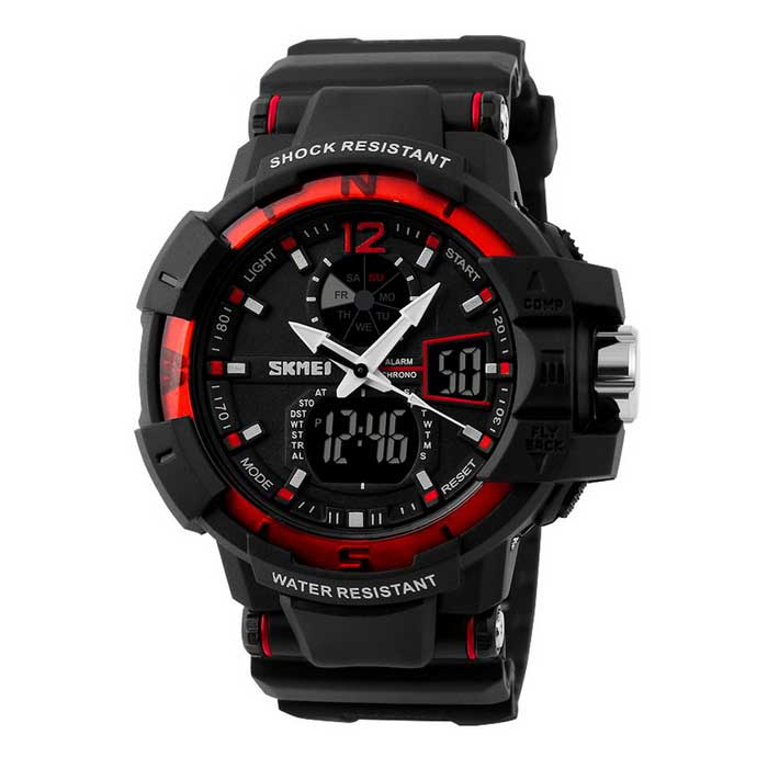 SKMEI Waterproof Dual-Display Sports Watch - Black + Red (1*CR2016)