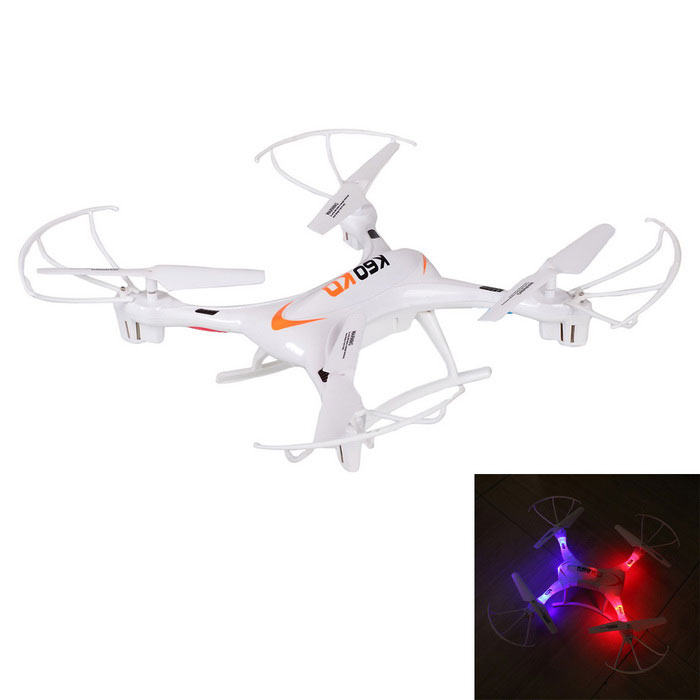 K60 4-CH 6-Axis 2.4GHz r / c quadcopter w / en tast for å gå tilbake - hvit
