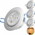 YouOKLight 3W 280lm 3000K 3 -LED blanco cálido Downlight Foco Lámpara de techo (AC 85 ~ 265V / 4 PCS )