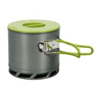 Portable Outdoor Camping Anodized Aluminum Picnic Heat Collecting Pot Cookware - Black + Green