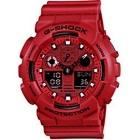 Genuine Casio GA100C-4ADR G-Shock Waterproof Resin Band Digital Chronograph Watch - Red