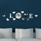 Hearts Love Pattern DIY Art Acrylic Wall Quartz Clock Mirror Stickers for Home Decoration - Silver