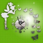 vlinder en fee patroon DIY acryl muurstickers w / clock - zilver