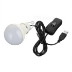 KINFIRE Outdoor Camping USB 5V 5W 10-LED 480lm 3500K Warm White LED Light w/ Switch + Hook - White