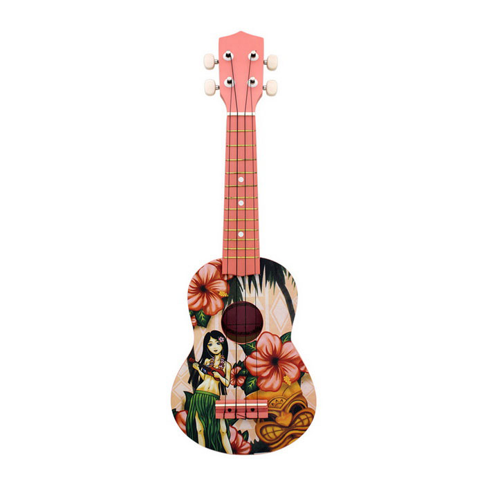 "21 ""Cartoon Girl Pattern Ukulele - Vihreä + vaaleanpunainen + Multicolor"