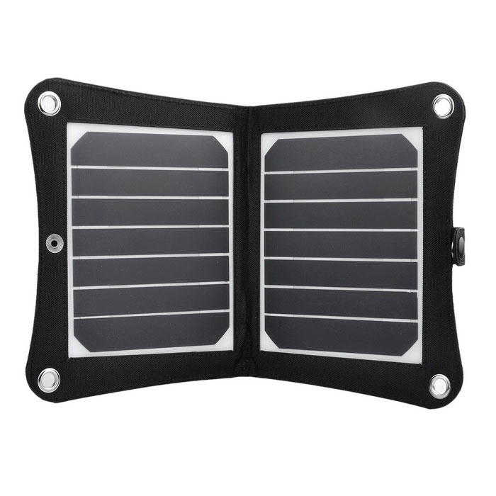 VINA 7W Sunpower Chip Foldable Solar Powered Panel Charger - Black