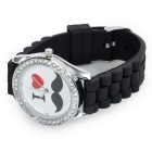 Unisex PU Wristband Analog Quartz Watch - Black (1*SR626SW)