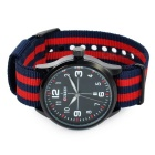 CURREN Men's Canvas Band Analog Quartz Watch - Blue + Red (1*626)