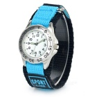 Fashionable Canvas Wristband Analog Quartz Sports Watch - Blue + Silver + Multi-Color (1 x SR626SW)