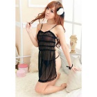 Ultra Sexy Empty Back See-Through Nightwear Dress w/ T-back - Black