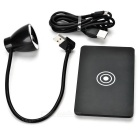 Qi Wireless Charger Pad + LED White Desk Lamp for Nokia + More - Black