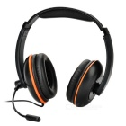 3.5mm Wired Headband Headphones w/ Microphone for PS4 - Black + Orange
