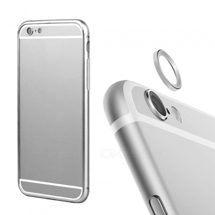 Bumper Frame Case + Lens Guard Ring Sticker for IPHONE 6 PLUS - Silver