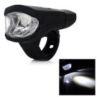 USB Rechargeable LED 2-Mode White Bicycle Front Headlamp w/ Clip - Black