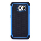 Football Skin Pattern Protective TPU + PC Back Case w/ Stand for Samsung Galaxy S6 - Blue + Black